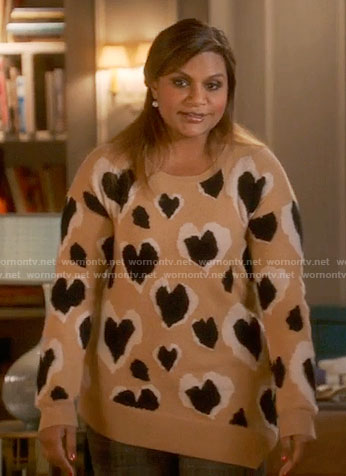 Mindy's beige heart print sweater on The Mindy Project