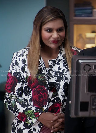 Mindy's black and white rose print dress and coat on The Mindy Project