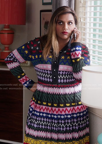Mindy's mixed striped pattern pleated dress on The Mindy Project