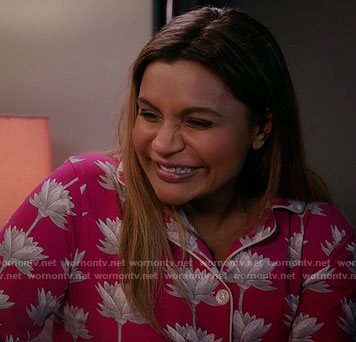 Mindy's pink lotus flower print pajamas on The Mindy Project