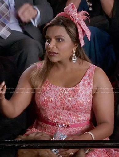 Mindy's pink textured dress on The Mindy Project