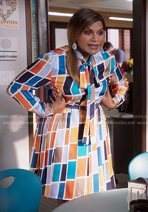 Mindy's rectangle print tie-neck dress on The Mindy Project