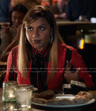 Mindy's red and black striped shirt with bow neck on The Mindy Project