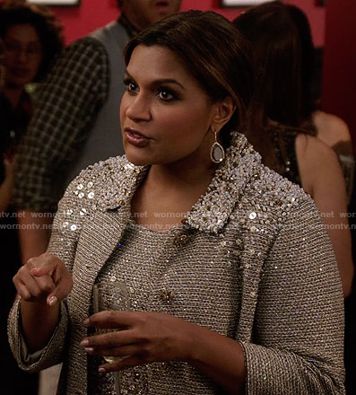 Mindy's taupe embellished dress and coat on The Mindy Project
