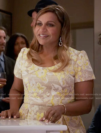 Mindy's yellow floral jacquard dress on The Mindy Project