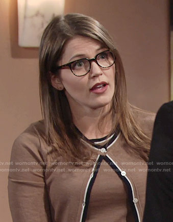 Natalie's brown top and cardigan with contrasting trim on The Young and the Restless