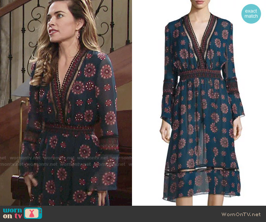 Nicholas Marrakech Printed Chiffon Midi Dress worn by Victoria Newman (Amelia Heinle) on The Young & the Restless