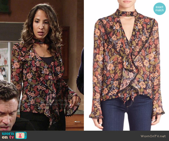 Nicholas Floral Frill Cut-Out Top worn by Lily Winters (Christel Khalil) on The Young & the Restless