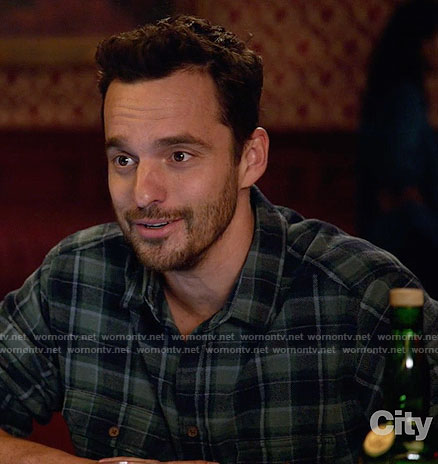 Nick's navy and green plaid shirt on New Girl