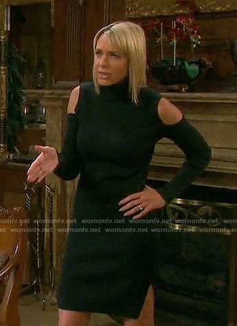 Nicole's black cold shoulder turtleneck dress on Days of our Lives