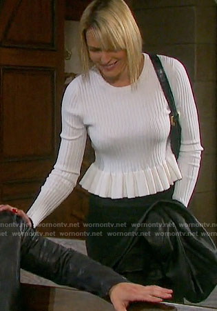 Nicole's white ruffled trim sweater on Days of our Lives