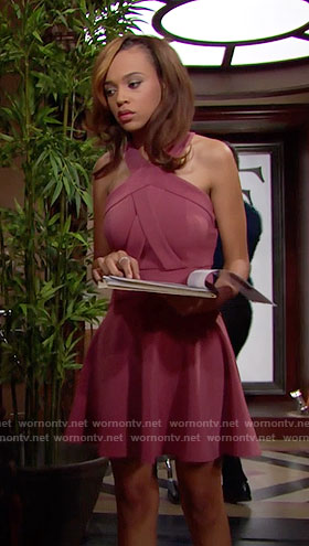 Nicole's pink cross neck dress on The Bold and the Beautiful