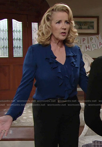 Nikki's blue ruffled blouse on The Young and the Restless