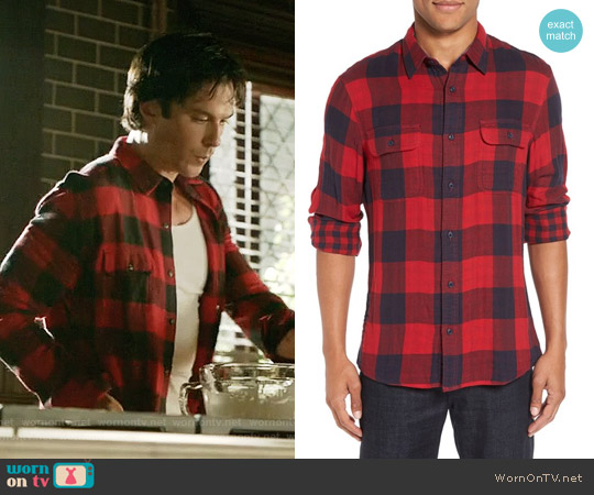 Nordstrom Men's Shop Trim Fit Buffalo Plaid Flannel Shirt Jacket worn by Damon Salvatore (Ian Somerhalder) on The Vampire Diaries