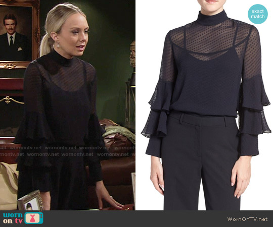 Olivia Palermo + Chelsea28 Tiered Sleeve Silk Top worn by Melissa Ordway on The Young & the Restless