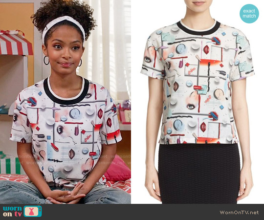 Opening Ceremony Print Short Sleeve Top worn by Zoey Johnson (Yara Shahidi) on Blackish