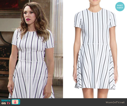 Opening Ceremony Striped Fit & Flare Dress worn by Chloe Mitchell (Elizabeth Hendrickson) on The Young & the Restless