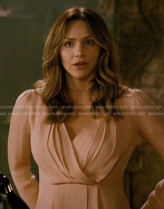 Paige's blush pleated blouse on Scorpion