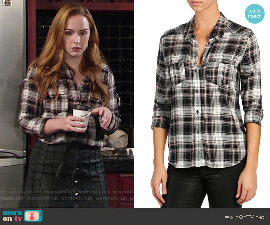 Paige Mya Shirt in Black / Adobe Rose worn by Camryn Grimes on The Young & the Restless