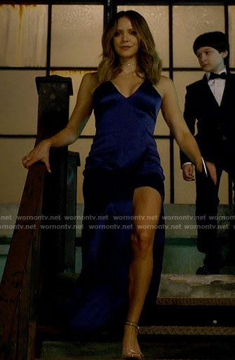 Paige's blue satin gown on Scorpion