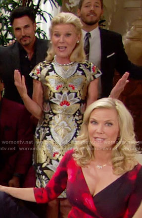 Pam's metallic Thanksgiving dress on The Bold and the Beautiful