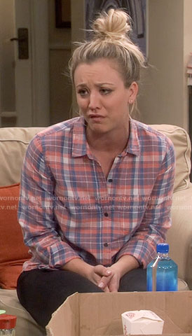 Penny's coral and blue plaid shirt on The Big Bang Theory