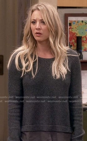 Penny's grey layered sweater on The Big Bang Theory