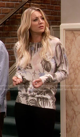 Penny's leaf print sweater on The Big Bang Theory