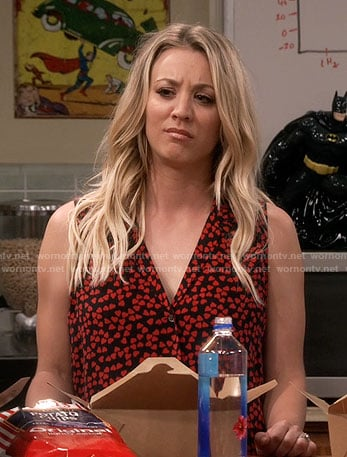 Penny's sleeveless heart print top on The Big Bang Theory