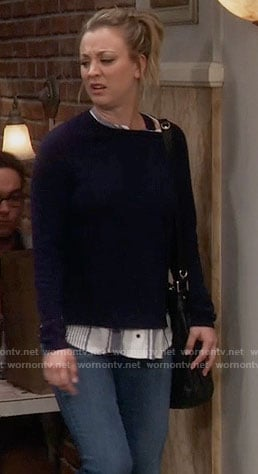 Penny's blue striped layer sweater on The Big Bang Theory
