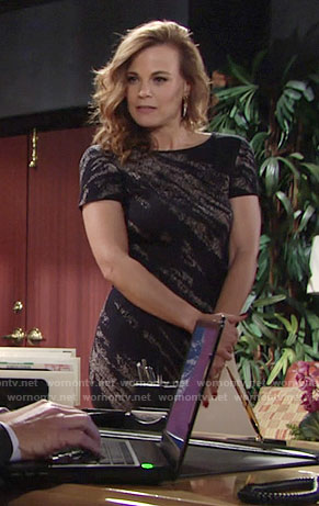 Phyllis's black and grey printed short sleeve dress on The Young and the Restless