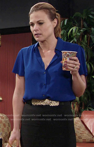 Phyllis's blue short sleeved blouse on The Young and the Restless