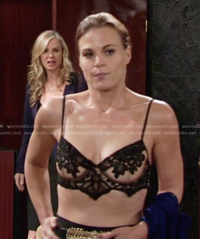 Phyllis's black and nude lace bra on The Young and the Restless