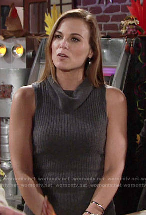 Phyllis's grey sleeveless turtleneck dress on The Young and the Restless