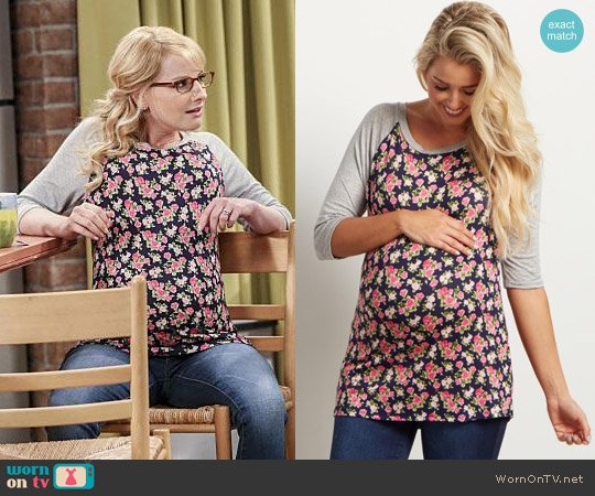 Pink Blush Navy Blue Floral 3/4 Sleeve Maternity Top worn by Melissa Rauch on The Big Bang Theory