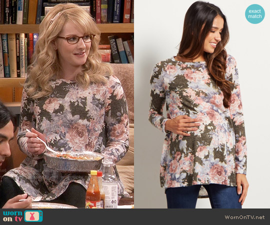 Pink Blush Olive Floral Print Maternity Knit Top worn by Melissa Rauch on The Big Bang Theory