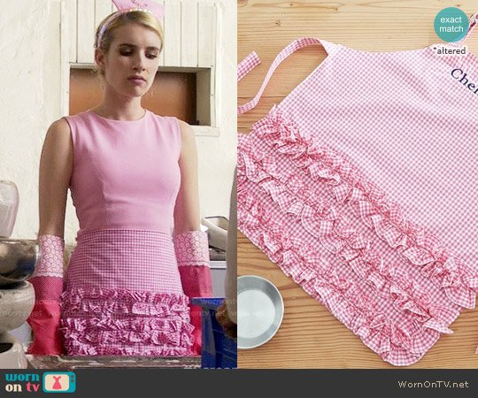 Pottery Barn Kids Pink Ruffle Gingham Apron worn by Chanel Oberlin (Emma Roberts) on Scream Queens