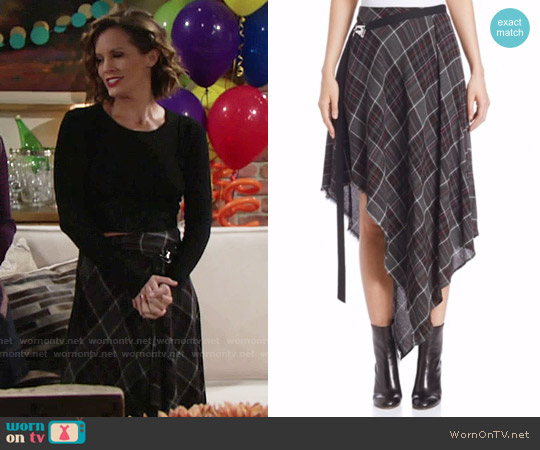 Public School Danen Plaid Wool Blend Skirt worn by Melissa Claire Egan on The Young & the Restless