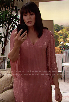 Quinn's pink beaded Thanksgiving dress on The Bold and the Beautiful