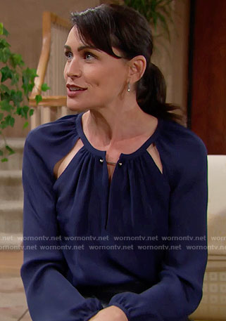 Quinn's blue cutout blouse on The Bold and the Beautiful