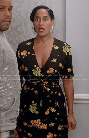 Rainbow's black floral wrap dress on Black-ish