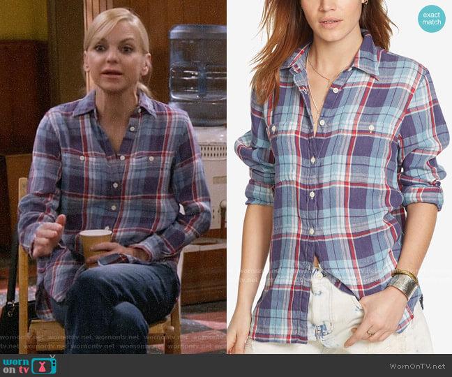 Ralph Lauren Denim & Supply Plaid Utility Shirt in Plaid Multi worn by Christy Plunkett (Anna Faris) on Mom
