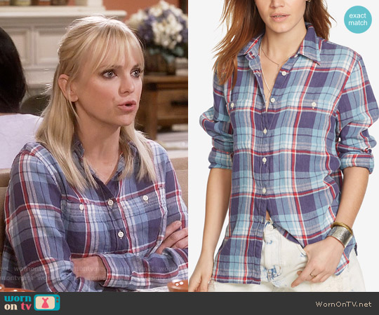 Ralph Lauren Denim & Supply Plaid Utility Shirt in Plaid Multi worn by Anna Faris on Mom