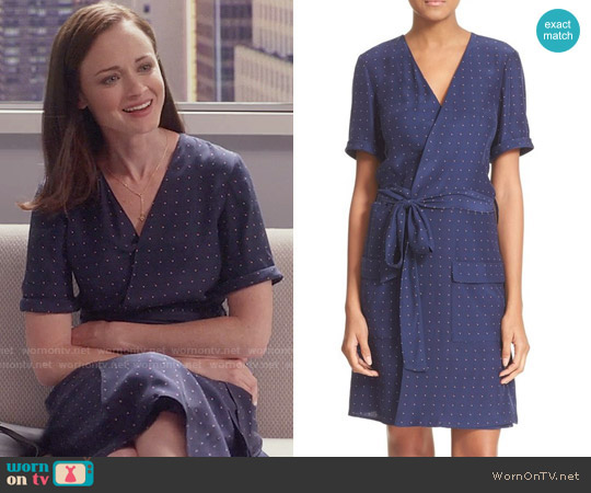 Frame 'Le Wrap Tie' Silk Wrap Dress in Navy Dot worn by Rory Gilmore (Alexis Bledel) on Gilmore Girls