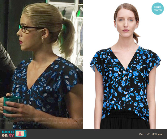 Rebecca Taylor Kyoto Floral Top worn by Emily Bett Rickards on Arrow