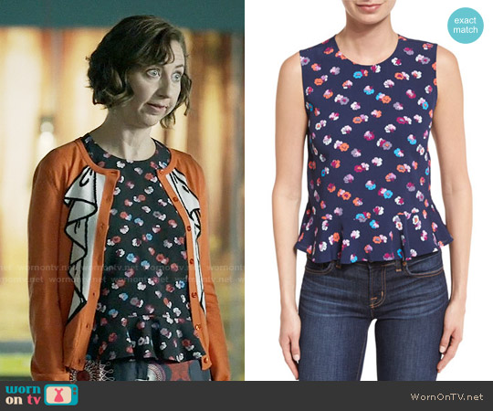 Rebecca Taylor Sakura Peplum Top worn by Carol Pilbasian on Last Man On Earth