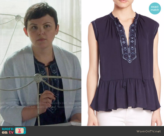 Rebecca Taylor Sleeveless Embroidered Top worn by Mary Margaret (Ginnifer Goodwin) on OUAT
