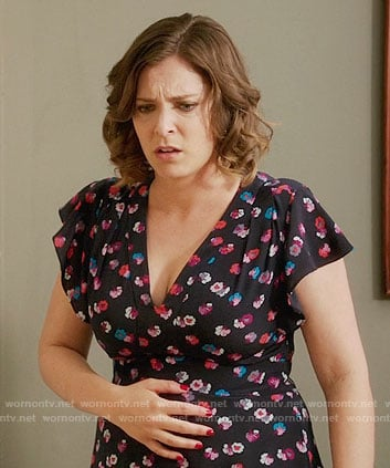 Rebecca's navy floral print v-neck dress on Crazy Ex-Girlfriend