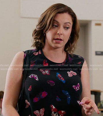 Rebecca's sleeveless butterfly print top on Crazy Ex-Girlfriend