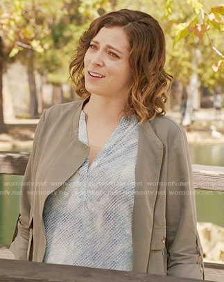 Rebecca's light blue textured print top on Crazy Ex-Girlfriend